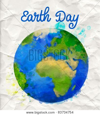 Earth day poster with watercolor globe vector illustration on rumple paper