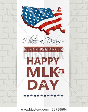 Martin luther king day greeting lettering, decorative text design on american flag background