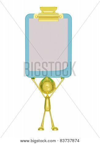 3d illustration of golden character with presentation pose poster