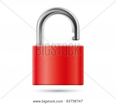 Realistic padlock illustration. Closed red lock security icon