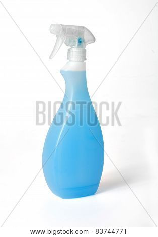 Spray Cleaner With Blu Chemical Isolated On White Background