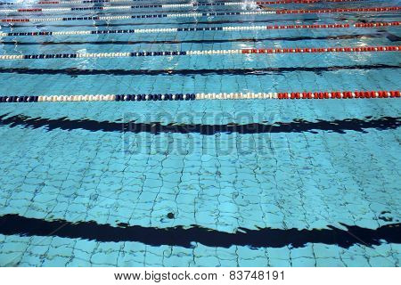 Lane swimming races in the huge swimming pool poster