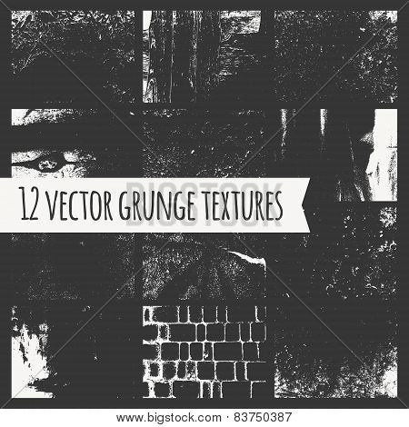 Set Of Different Grunge Textures.