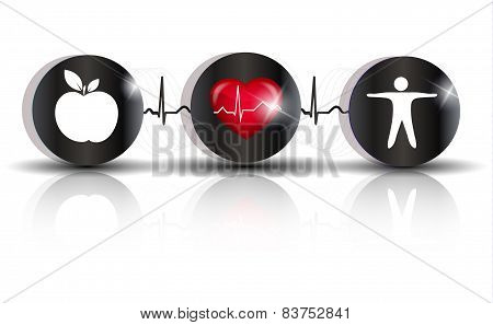Exercise, Healthy Diet And Cardiovascular Health Symbols Connected With Heart Beat Line. Advices To