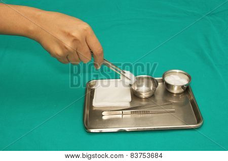 Surgical Instruments Set For Debridement Wound In A Steel Tray
