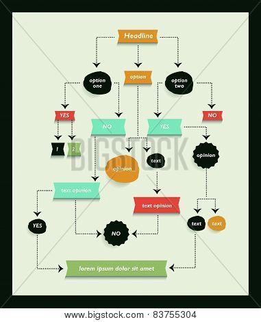 Flow Chart Diagram, Scheme. Infographic Algorithm Element.
