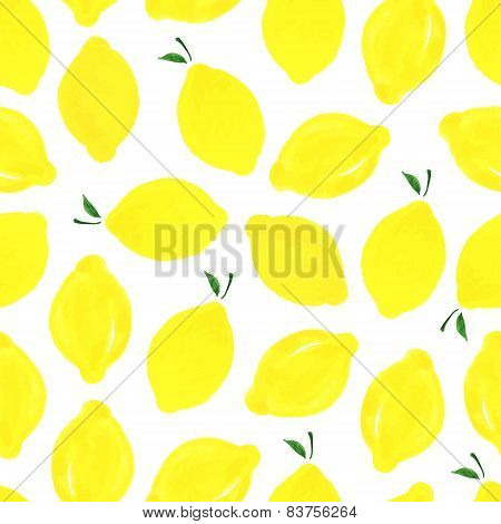 Watercolor Seamless Pattern With Lemons.