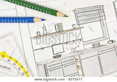 Scribble of built-in kitchen