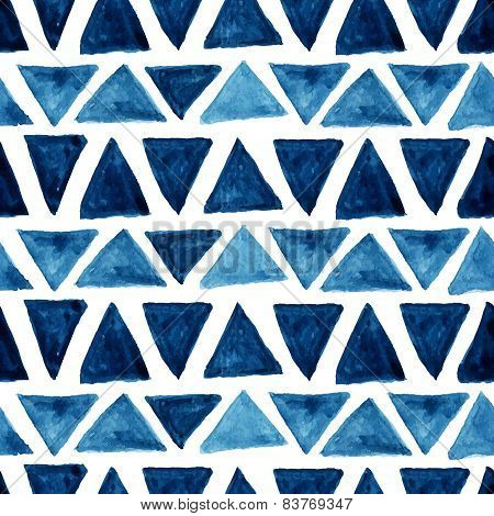 Seamless Watercolor Pattern blue triangles