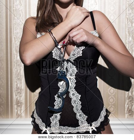 Sexy Woman In Corset Lock In The Handcuffs