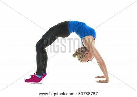 Supple Athletic Woman Bending Over Backwards