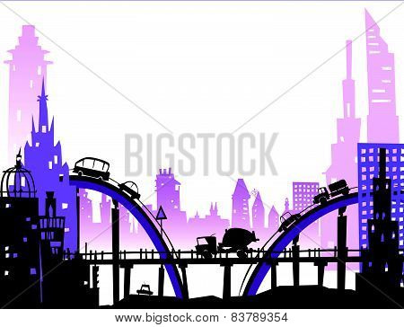 City background with roads, bridges and cars