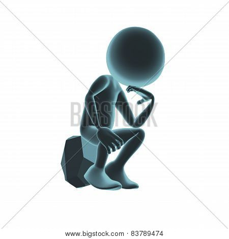 3D Character Thinker On The Stone