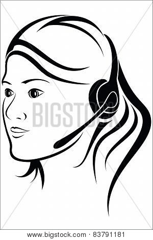 Woman With Headset In Callcenter