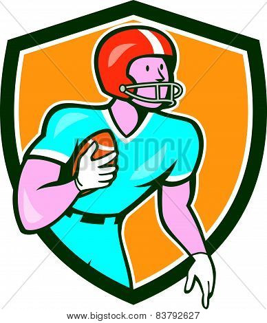 American Football Player Rusher Shield Retro