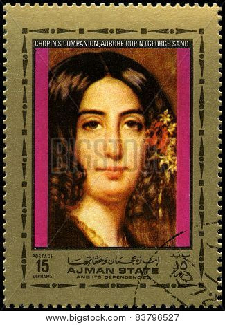 George Sand Used Postage Stamp