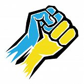vector fist icon. fist colored in Ukraine flag color poster