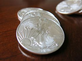 Close-up of silver coins
