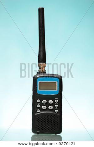 Radio Scanner Over Blue Background