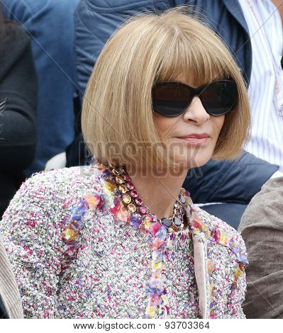 Vogue magazine editor-in-chief Anna Wintour at the Roland Garros 2015