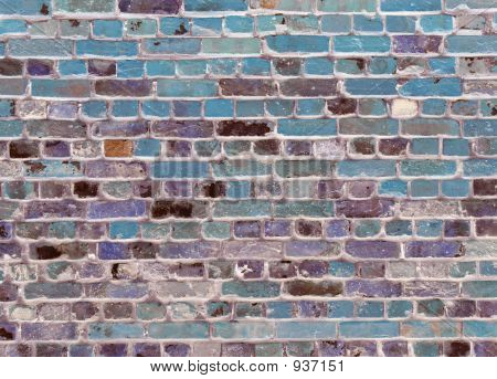 brick wall background or desktop in blue poster