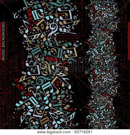 Vertical music abstract background with musical notes, vector design.