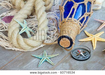 compass on fishing net
