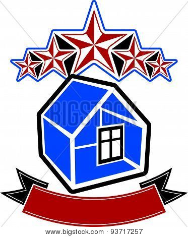 Simple house with stars and classic ribbon. VIP apartment conceptual icon. Aristocratic building