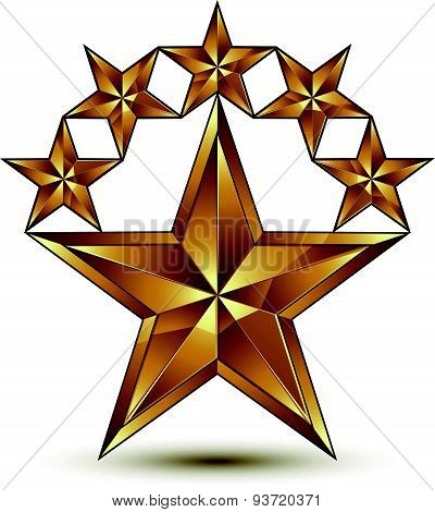 Glamorous vector template with pentagonal golden star symbol, best for use in web and graphic design