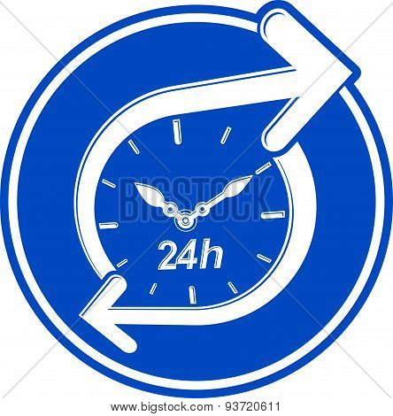 24 hours-a-day concept, clock face with a dial and an arrow around. Day-and-night interface icon