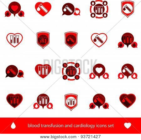 Cardiology and blood transfusion vector icons set, creative symbols for medical theme, vector collection. poster