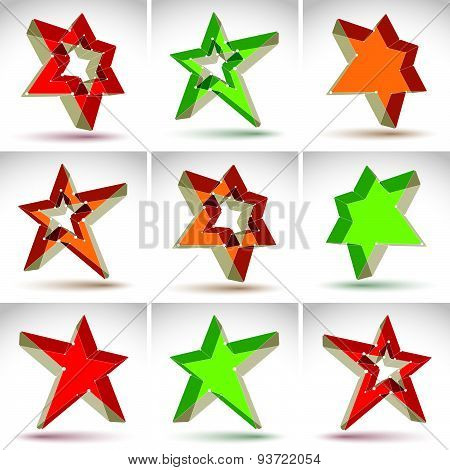 Set of 3d mesh stars isolated on white background, collection of colorful elegant lattice superstar