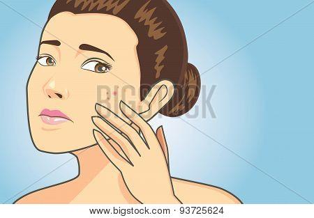 Acne skin on women face