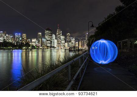 Blue orb at Kangaroo Point with Brisbane CBD
