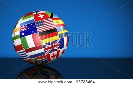 International Business Globe World Flags
