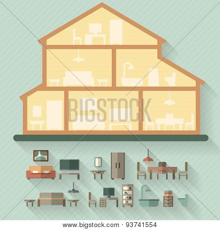 House in cut. Detailed modern house interior.