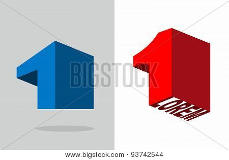 Number one. Logo 3D Volumetric figure 1. template design elements vector illustration