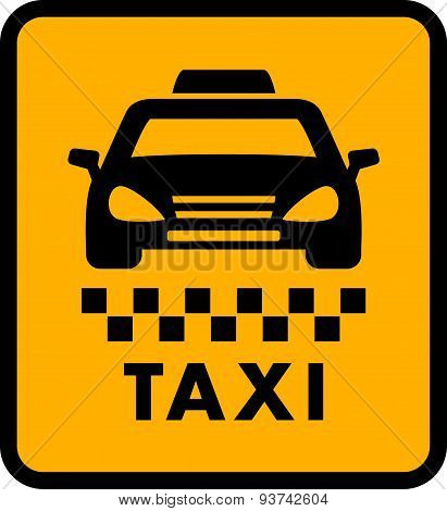 cab car silhouette on yellow taxi icon