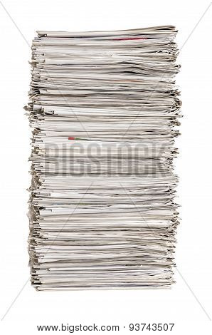 Isolated Pile Of Newspapers On A White Background