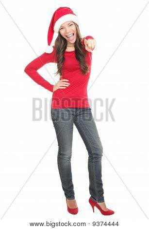 Happy Christmas Woman In Santa Hat