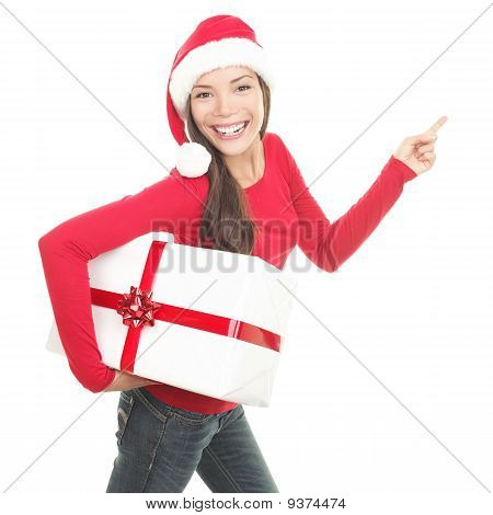 Santa Girl Showing Copy Space