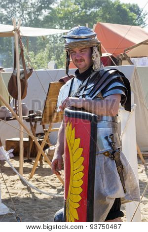 Ancient Roman Soldier With Shield And Weapon