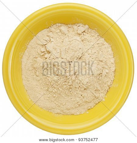maca root powder (nutrition supplement - superfood from Andies) in a small ceramic bowl, clipping path
