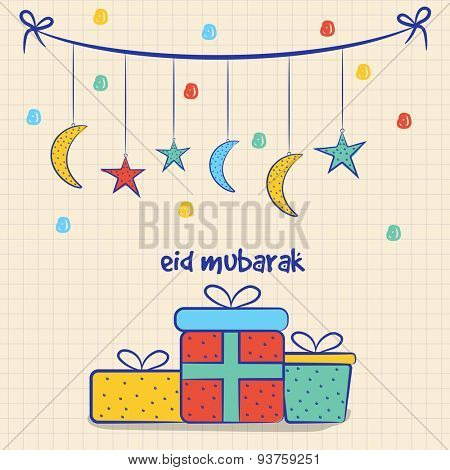Colorful gifts with hanging crescent moons and stars on squared paper sheet background, Elegant greeting card design for Eid Mubarak  celebration.
