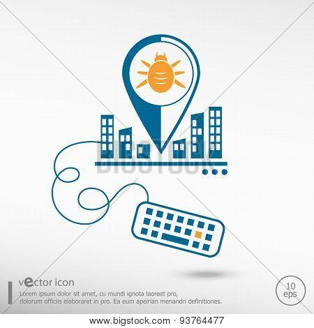 Bug Icon And Keyboard