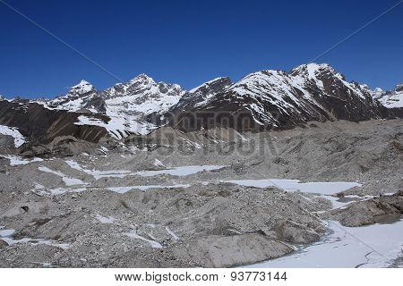 View Of Ngozumba Glacier And Gokyo Ri