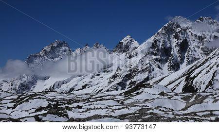 Ngozumba Glacier And Peaks Of Phari Lapche And Teningbo