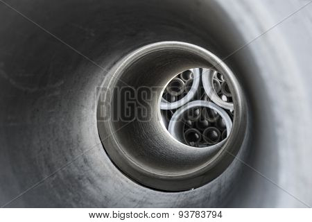 Close Up Of Inside Of Concrete Pipe