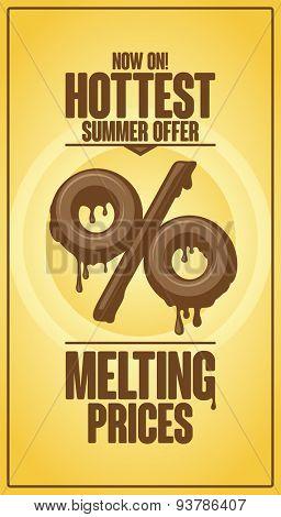Hottest summer offer, melting prices vector design