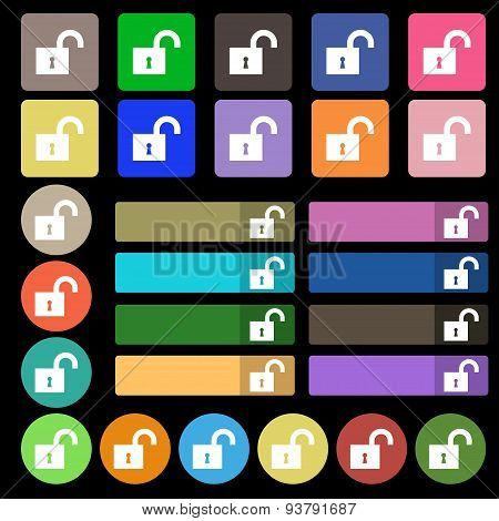 Open Lock Icon Sign. Set From Twenty Seven Multicolored Flat Buttons. Vector